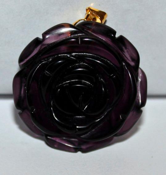 Dije Flor Rosa Labrada En --amatista -piedra- Flete Gratis
