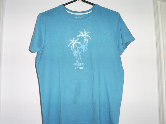 Camiseta Feminina Azul Manga Curta Da Scene Tam. M 42 / 44