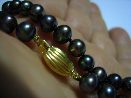 Ivi1388 = Colar Fecho Em Ouro 18k = Pérolas Negras