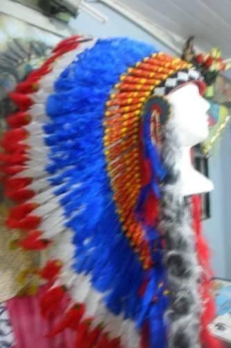 Cocar Indigena Repro Nativo Americano Xamanismo Azul Vermelh