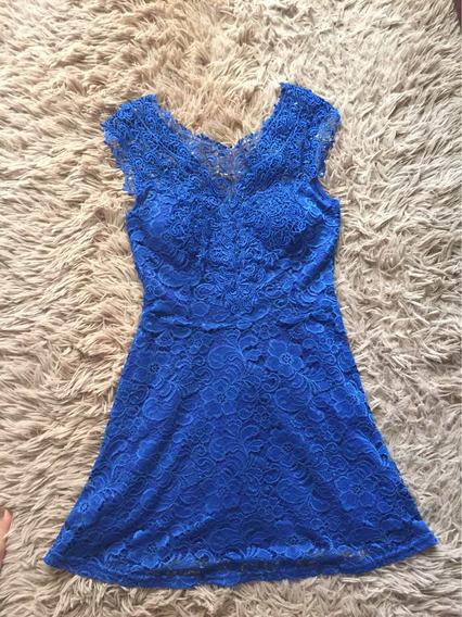 Vestido Usado Apenas Uma Vez, De Renda Azul, Tamanho M