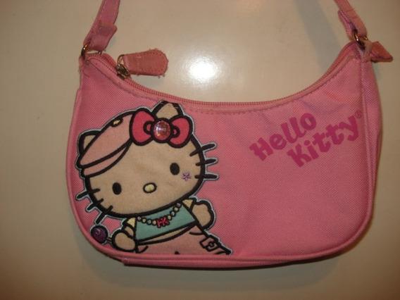 Bolsa Da Hello Kitty Em Sarja Rosa C/ 6 Bolsinhos Internos