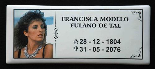 Placa Foto Porcelana Lápide Para Homenagear Seu Ente Querido