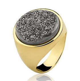 Anel Pedra Drusa Titânio - Ouro 18k