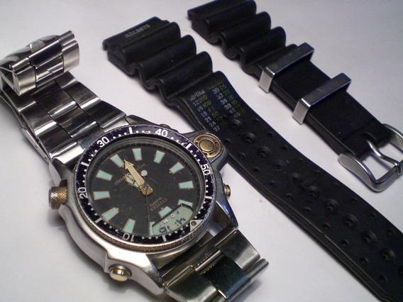 Relógio Citizen Aqualand Raro Anos 80 Antigo C/2 Pulseiras