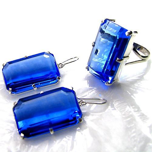 Conjunto Anel E Brincos Em Quartzo Azul Em Prata 950k Vj1000