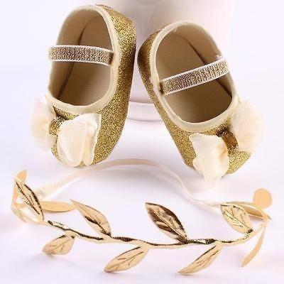 Um Mimo De Sapatinho Bailarina Dourado Com Tiara