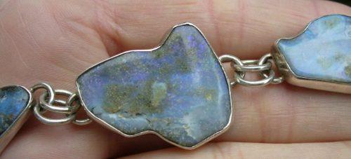 Deslumbrante Pulseira De Opalas Naturais E Prata Maciça 950
