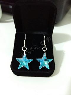 Brinco Estrela Cristal Swarovski Blue Boreal Anzol Prata 925
