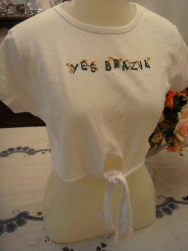 Yes Brasil Blusa Camiseta Algodao Branca De Amarrar Tam. M
