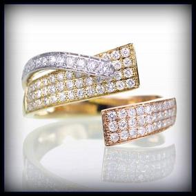 Anel Em Ouro Amarelo Branco E Rose 18k! E Diamantes!