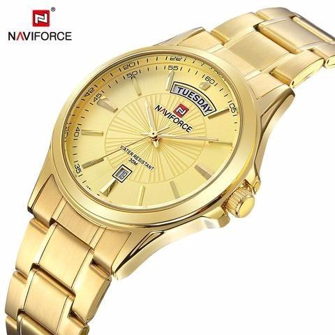 Relógio Feminino Dourado Social Fino Aço Inoxidável Promoção