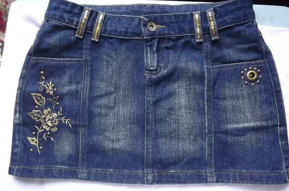 Mini Saia Jeans Azul Marinho Desbotado Com Bordado