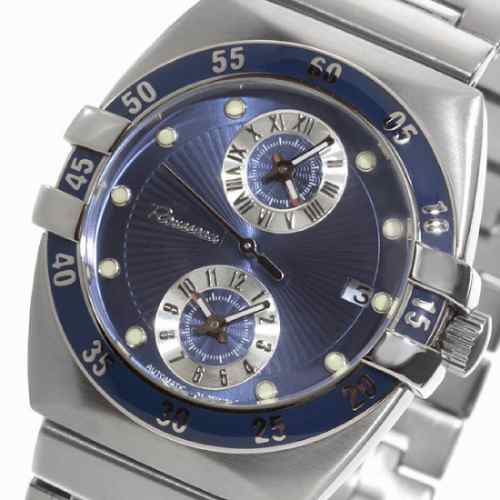Rousseau Triolet Automatic Dual Time Stainless Steel/blue
