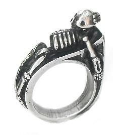 Anel De Caveira Esqueleto Gótico Estanho Pewter