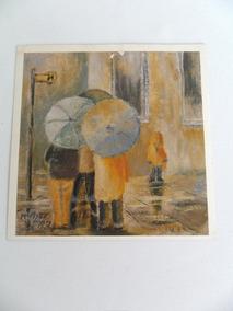 Gravura Antiga Retratando Pessoas Na Chuva Decoração Coleção