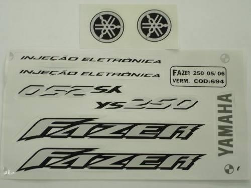Adesivo Ys250 Fazer 2006 Cinza, Faixa Original Completa