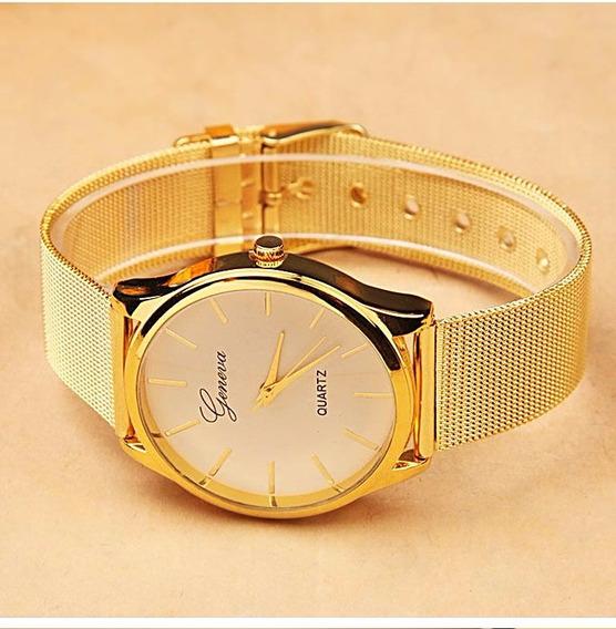 Relógio Feminino Luxo Dourado Com Aço Inoxidável