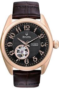 Relógio Bulova 97a104 Orig Anal Mec Aut Gold Brown Leather