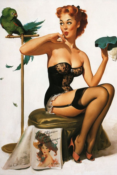 Poster Cartaz Pinup Mulher Ruiva Sexy Lingerie Papagaio Usa