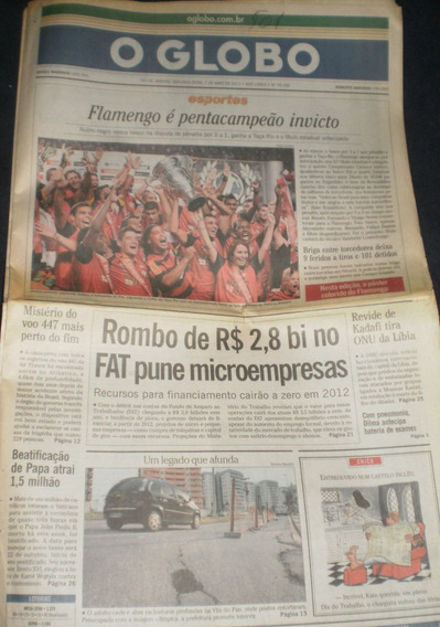 Jornal O Globo 02-mai-2011 Flamengo Penta Campeão Invicto