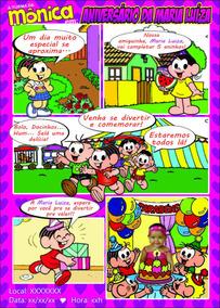 Convite De Aniversário Turma Da Mônica Em Quadrinhos.