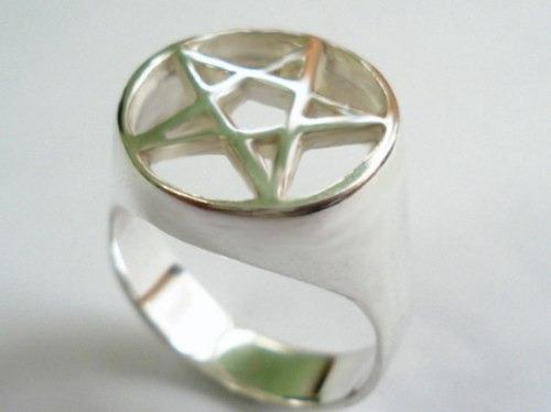 Anel Pentagrama Prata 950 Estrela Cinco Pontas