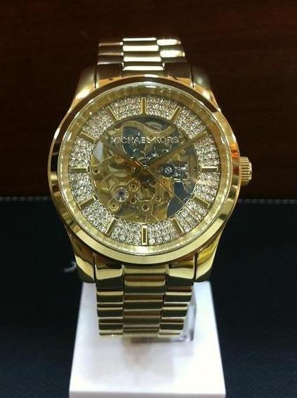 Relógio Michael Kors Mk9009 Orig Automático Gold Swarovski