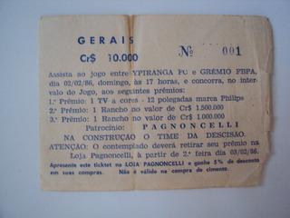 Rarissimo Ingresso Ypiranga Fc E Grêmio Fbpa 1986