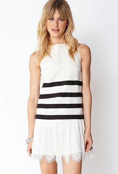 Vestido Forever21 Blanco Encaje Talla S Romantico Mujer Ropa