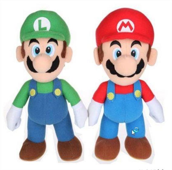 Kit Com 2 Bonecos Super Mario Bros E Luigi Com **25cm**