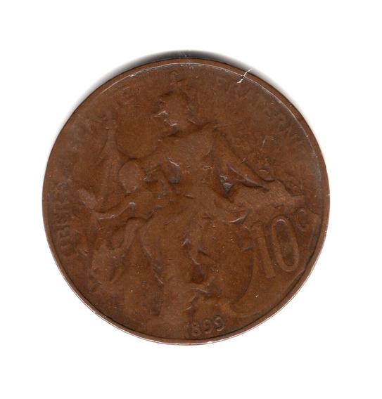 Moneda Francia 10 Centimes Año 1899 Km#843
