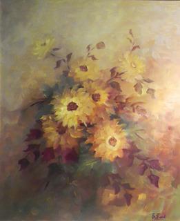Flores - Óleo De Ernesta Frank. Arte Original. Envío Gratis.
