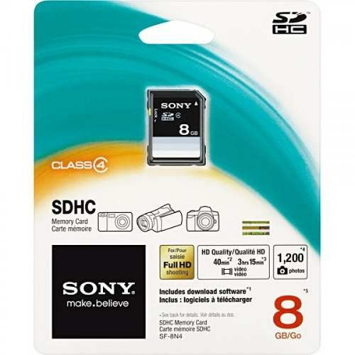 Cartão De Memory 8gb Sdhc Sony Embalagem (blister)