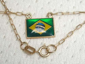 1388ivi =colar Ouro 18k ,bandeira Brasil !!!