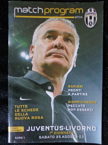 Programa Jogo Juventus - Livorno 2007 Italia