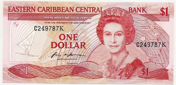 Saint Kitts, Cedula De 1 Dolar, Fe - Letra K - Antiga -