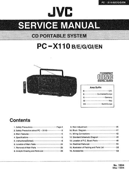 Jvc - Pc-x110 Esquemas E Folhas De Serviço