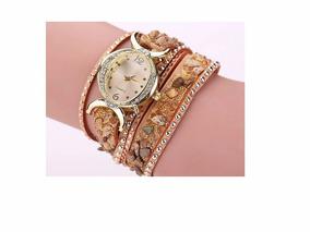 Relógio Feminino Importado: Pulseira Em Couro (frete Grátis)