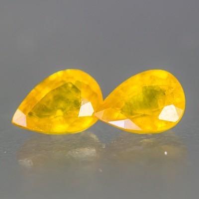 Lindas Safiras Amarelas - Pera - 2 Pedras Naturais 1,99 Cts.