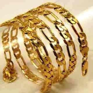 Barbada-pulseira 3x1 Fígaro-banho De Ouro--10mm-19cm + Brind