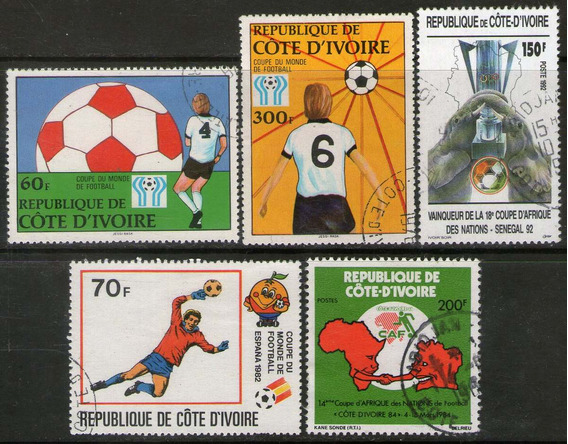 Costa De Marfil 5 Sellos Fútbol = Argentina 78 Años 1978-92