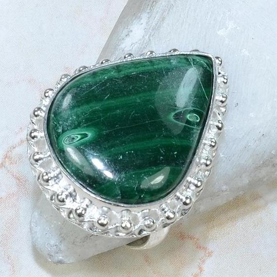 Malakita-anel Prata Indiana 925