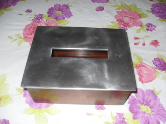 Porta Guardanapo Madeira Com Tampa Alumínio Escovado