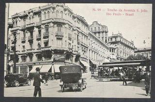 Postal Antigo No 99 Avenida São João São Paulo Bonde Carros