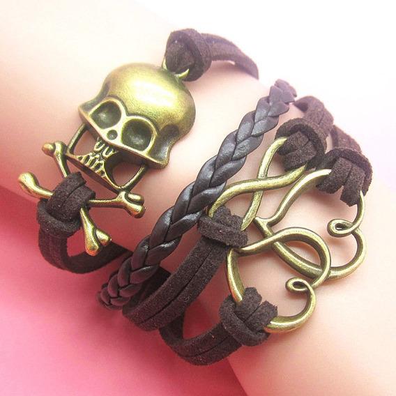 Pulseira Bracelete Infinito Coração Metal Camurça Couro