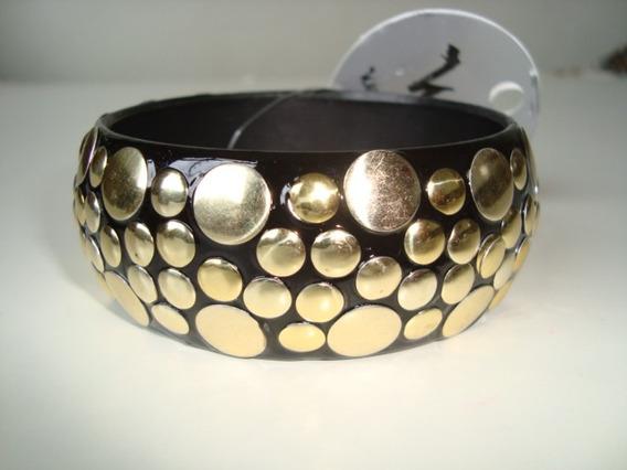 Pulseira Bracelete Resina Preta Com Bolinhas Douradas