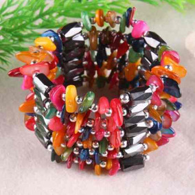 Colar/ Bracelete: Hematita Magnetizada E Madreperola Colorid