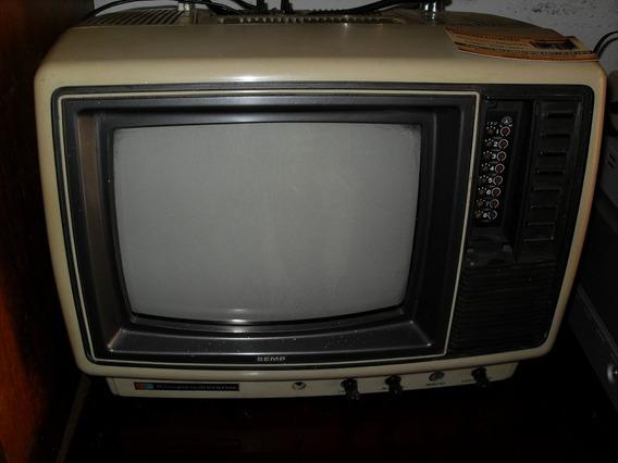 Televisão Antiga Semp Em Cores Funcionando (only Wood)