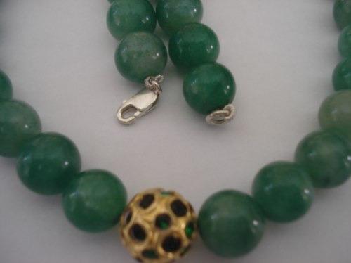 Jfa_joias - Colar De Quartzo Verde Pingente Dourado !!!